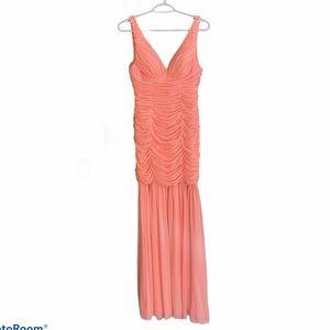 Soft coral mermaid prom dress
